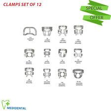 Dental Endodontic Clamps Set Of 12 Rubber Dam Dentistry Restorative Instruments