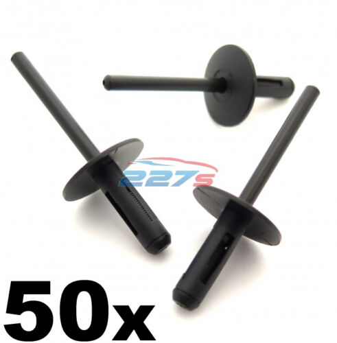 Side Skirts Sills /& Bumpers 50x BMW Plastic Pop Blind Rivets 6mm Wheel Arches