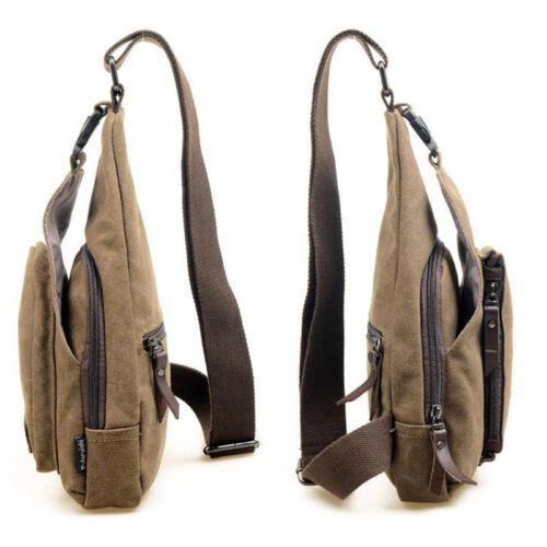 Mens Canvas Crossbody Sling Chest Bags Work Travel Hiking Messenger One Shoulder