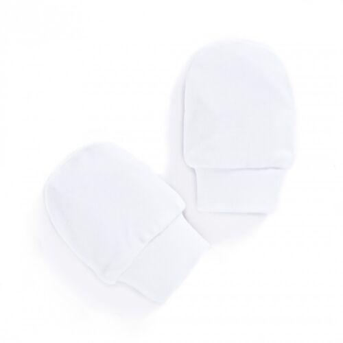 fabriqué en UE. 2 Paires Bébé Scratch Mitaines Blanc 100/% coton peigné
