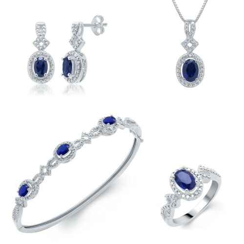 3.60ct Lab Sapphire White Gold Plated Brass Ring Necklace Bracelet Earrings Set