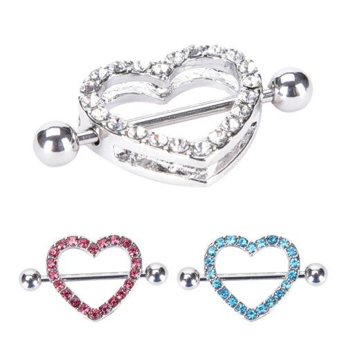 1 Paar Herz Nipple Shield Nippel Ring Stahl Barbell Piercing Schmuck ZJP