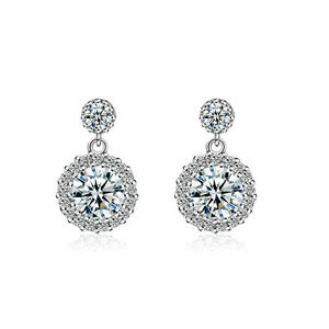 Fashion-Jewellery-925-Sterling-Silver-Round-Cushion-Zircon-Stud-Drop-Earrings