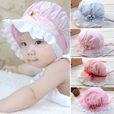 Toddler Baby Girl Summer Wide Brim Sun Protection Beach Cotton Hat Cap Effic HB