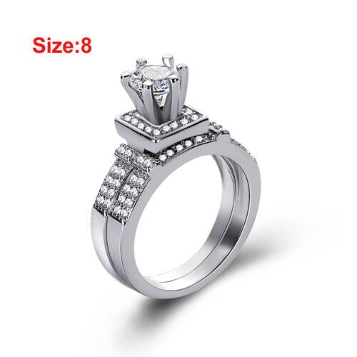 Frauen Shiny White Sapphire Verlobungsring Elegant stapelbar Trauringe DE