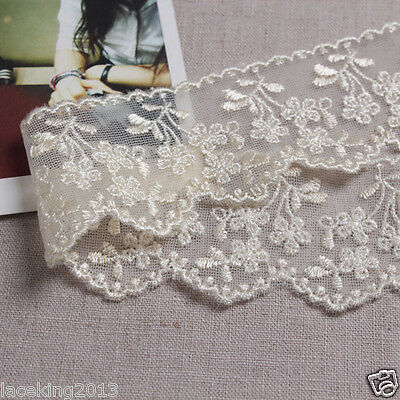 14Yds Embroidery scalloped mesh eyelet lace trim 4cm YH979 laceking2013