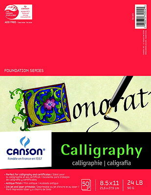 Canson Calligraphy Parchment Paper, 8-1/2 x 11 Inches, Four Assorted Colors, ...