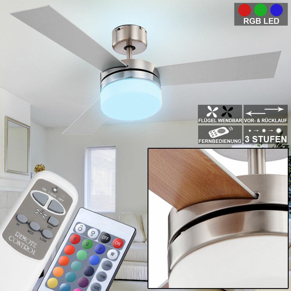 Ventilateur de plafond RVB LED 7 Watts 3 niveaux vitesse changeur Farbe lampes
