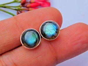 Genuine-925-Sterling-Silver-Studs-Fine-Silver-Flashy-Labradorite-Stud-Earring