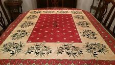 Olive Branches Tablecloth in Sunny Yellow Red French Inspired No Tags 54x66 NEW