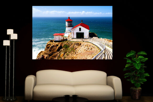 Canvas Giclee Wall Prints Fine Art Point Reyes Lighthouse Photo Print Colorful 2