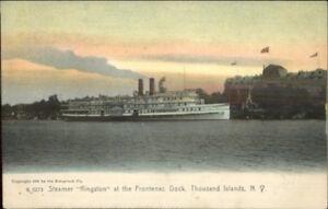 Thousand-Islands-NY-Frontenac-Dock-Steamer-Kingston-c1905-Postcard