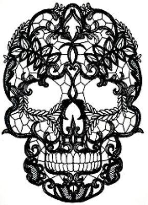 28 new water slide nail art transfer nail  decal black lace sugar skull Trending