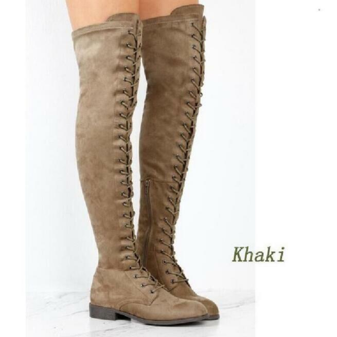 Womens Lace up Strappy Moccasin Over the Knee Riding Combat Boots Warm shoes New