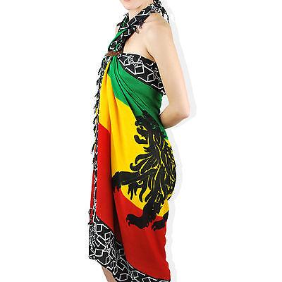 Lion Of Judah Selassie Rasta Roots Sarong Wrap Jamaica Bahamas Hawaii Negril RGY