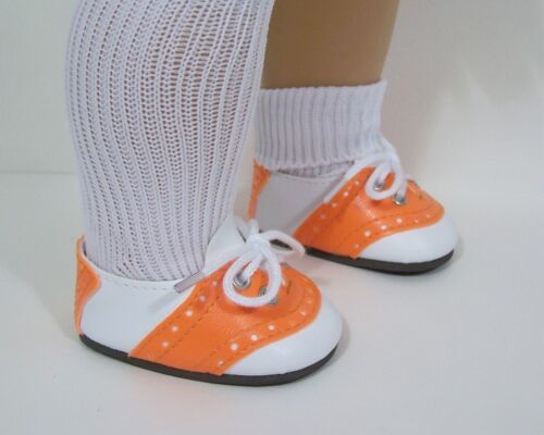 "Debs ORANGE /& WHITE Saddle Oxford Doll Shoes For 18/"" American Girl"