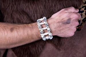 Armband-Schaedel-Knochen-Zaehne-Totenkopf-Steinzeit-Urmensch-Halloween-Fasching