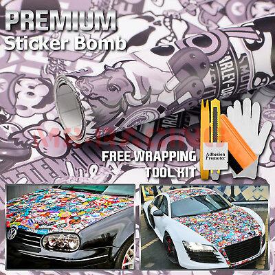 "12/"" X 60/"" JDM ANIMAL STYLE GRAFFITI STICKER BOMB VINYL WRAP STICKER DECAL"