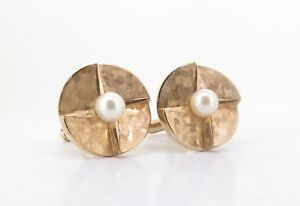A-Fine-Pair-Of-Vintage-14K-Solid-Gold-amp-6-5mm-Pearl-Set-Gentleman-s-Cufflinks
