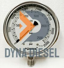 High Pressure Gauge Dual Scale 2500 Bar 35000psi 12 Bsp Bottom Connection