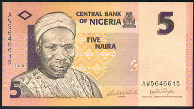Real money UNC P-32a Banknotes 2006 Nigeria 5 Naira Original