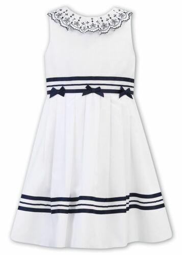 Sarah Louise SS20 Nautical Dress White//Navy 011883