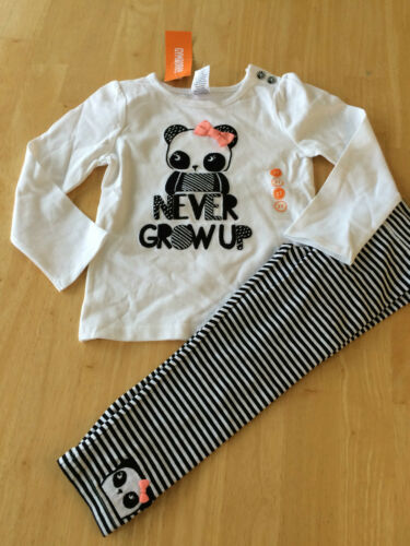 NWT Gymboree Animal Party NEVER Grow UP Tee Shirt Panda Leggings Girls Toddler