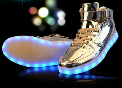 USB 7 LED Light Unisex High Top Lace Up Sportswear Sneaker Luminous Shoes Casual