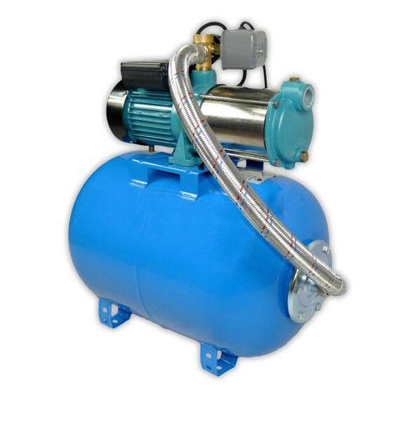 Wasserpumpe 1100W 95l min 50l Druckbehälter Gartenpumpe Hauswasserwerk Set TOP