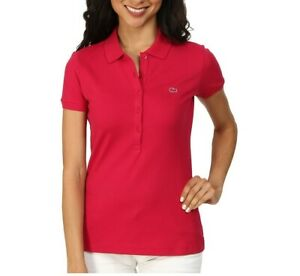 Lacoste-Womens-Short-Sleeve-Slim-Fit-Stretch-Pique-Polo-Shirt-SIROP-PINK-SIZE-42