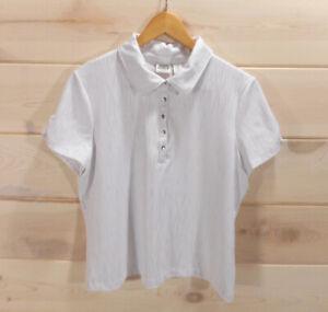 Chico-s-Zenergy-Golf-Size-2-Women-039-s-L-Polo-Shirt-White-Sliver-Quarter-Snap-Top