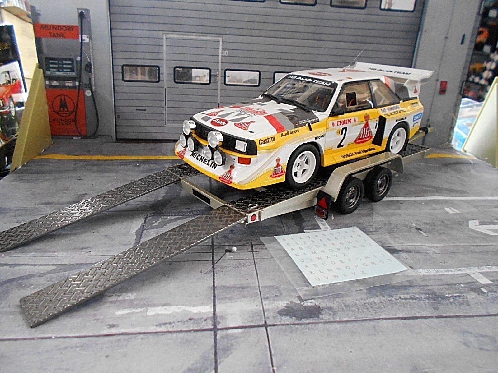 contador genuino Colgante tráiler coche remolque de transporte Coche Cocherier 1980 plata plata plata nuevo otto 1 18  nueva marca
