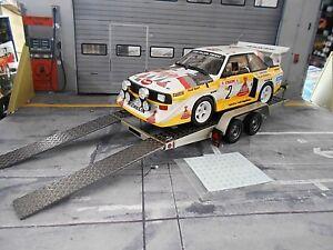 Trailer-rimorchio-auto-rimorchio-da-trasporto-Car-Carrier-1980-argento-NUOVO-otto-1-18