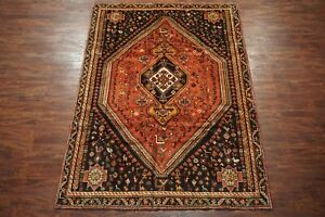 Antique-7X10-Nomadic-Area-Rug-Persian-Hand-Knotted-Wool-Animal-Motif-7-x-9-10