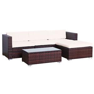 Poly rattan lounge gartenset braun sofa garten garnitur polyrattan gartenm bel ebay - Polyrattan lounge gartenset ...