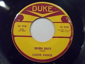 Junior-Parker-Seven-Days-Driving-Wheel-45-1961-Duke-Soul-Vinyl-Record