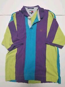 vtg 90s euc Tommy Hilfiger Purple Green Striped Colorblock CREST Polo Shirt XL