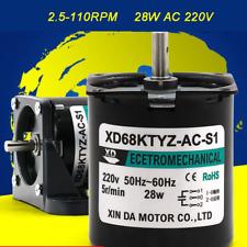 25rpm 110rpm Micro Gear Motor Metal Low Speed 28w Ac 220v Reducer Motor 68ktyz