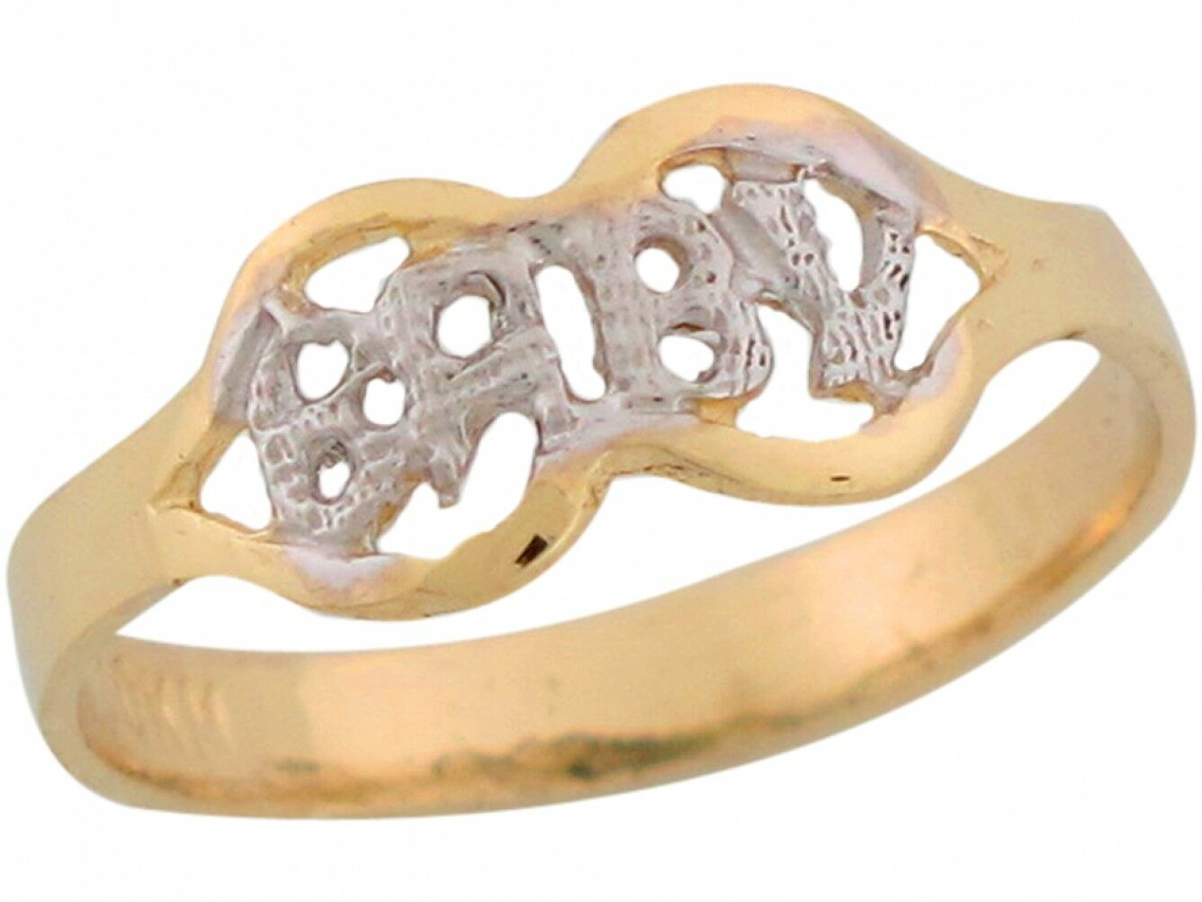 10k or 14k Two Toned Real gold Petite Baby Script Angel Wings Designer Baby Ring