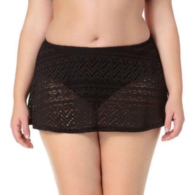 fd22b7ea3f4 Catalina Plus Solid Crochet Skirted Swimsuit Bottom Black 2x for ...