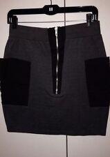 Grey Black Karmaloop Silver Zipper Skirt Medium