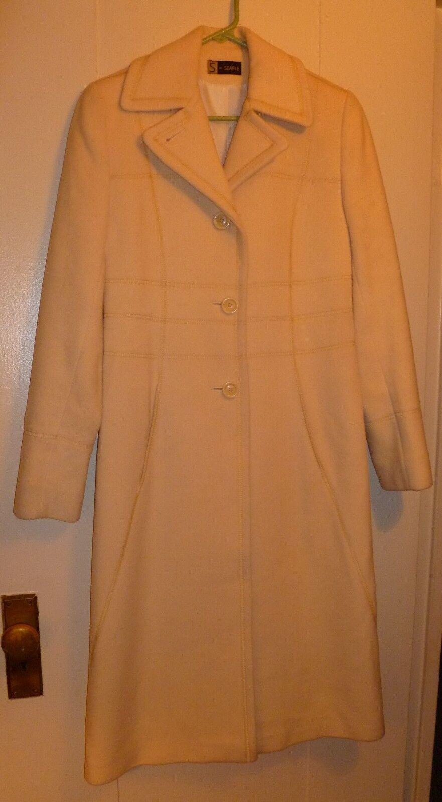 S by Searle Beige Ivory Cream Italian Wool Coat, Size 0