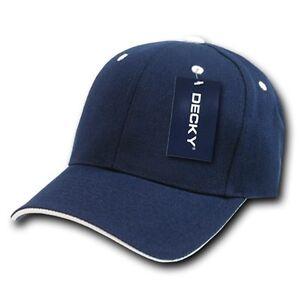 ad5b5ed908a Navy Blue   White Sandwich Visor Bill Blank Plain Baseball Cap Hat ...
