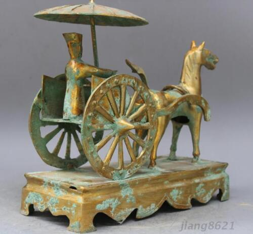 "13/"" China antique The warring states brass carts statue"