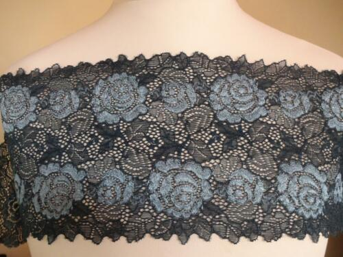 2 Töne petrol 16cm breit Französische elastische Spitze,Spitzenborte,lace