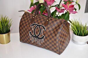 Handpainted-Louis-Vuitton-Tasche-Bag-Speedy-Damier-Monogramm-Echtheitszertifikat