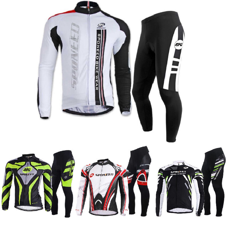 Mens Cyling Jerseys&Padded Pants Outfit Long Sleeve Bicycle Wear Bike Clothing