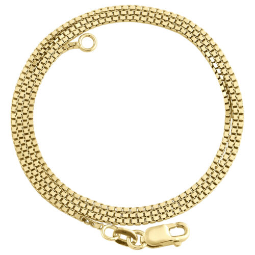 10K Yellow Gold 1mm Solid Square Italian Box Chain Womens Necklace 16-24 Inch