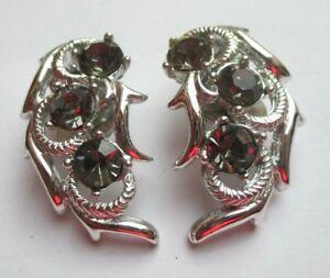 Rare Boucles D'oreilles Clips Couleur Argent Cristaux Diamant Bijou Vintage 419