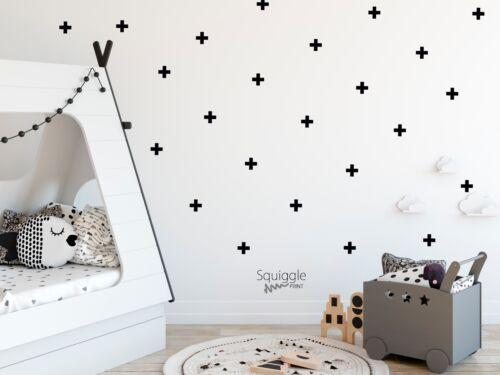 PLUS VINYL WALL STICKER BEDROOM NURSERY DECAL BLACK WHITE PINK GOLD CROSS